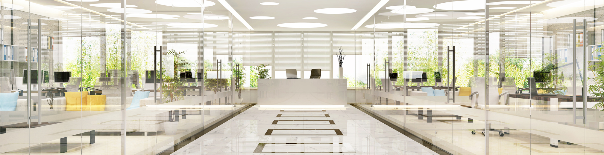 Interior design of large spacious office with glass partitions