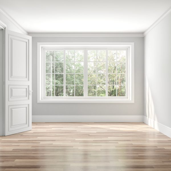 empty room with large window